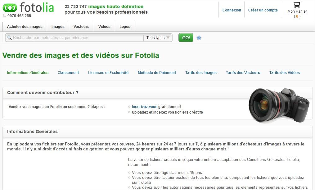 Vendre des photos, des vecteurs et des vidéos libres de droits sur Fotolia - Mozilla Firefox