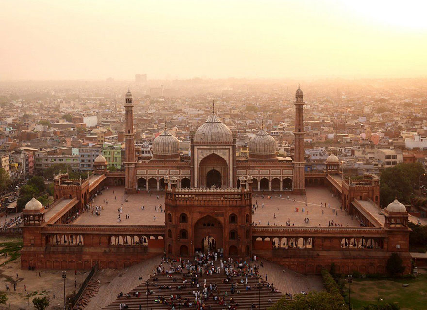 Jama Msjid ou grande mosquée de Shahjahânabâd à Dehli (Inde) Photo : Amos Chapple